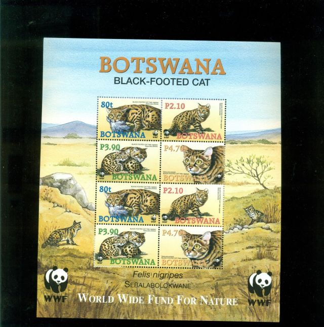 national parks of botswana national parks of africa  botswana stamps Botswana black-footed cat felis nigripes African 2006 Botswana souvenir set 8-vals stamp wildlife animal stamp collecting topical stamps