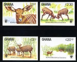 national parks worldwide   Ghana Bongo Africa postage stamps West Africa Wildlife