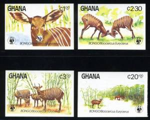 national parks worldwide   Ghana Bongo Africa postage stamps West Africa Wildlife