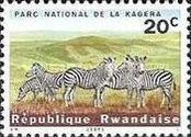 Rwanda Postage Stamps - 1965 - Kagera National Park - Plains Zebra (Equus burchelli)  20c