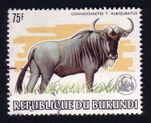 BURUNDI National Parks  WWF WILDEBEEST Stamp blue wildebeest Connochaetes taurinus herbivore African National Parks  Africa  savanna mammal animal wildlife