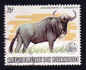 BURUNDI National Parks  WWF WILDEBEEST Stamp blue wildebeest Connochaetes taurinus herbivore African National Parks  Africa  savanna mammal animal wildlife