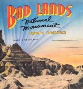 Badlands, National Monument South Dakota Souvenir Postcard Mailer cropped