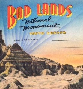 Badlands, National Monument South Dakota Souvenir Postcard Mailer cropped